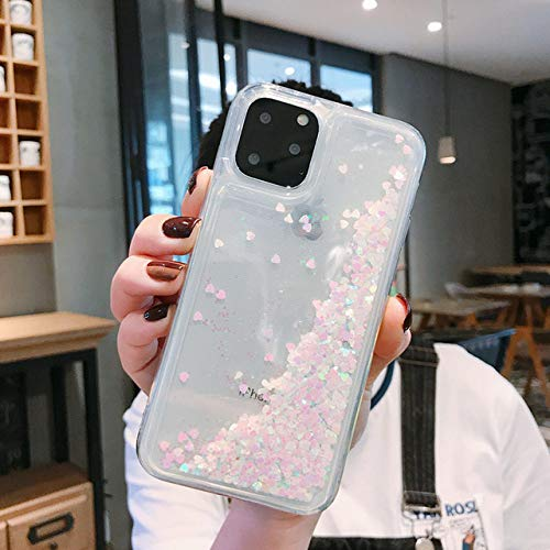 AAA&LIU Funda Love Heart Glitter para iPhone 11 Pro MAX XR XS X 8 7 6S 6 Plus 5S 5 SE Funda de Arena movediza líquida Suave para iPhone 11 Pro, Blanco, para iPhone XS MAX