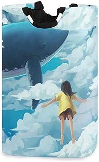 N\A Panier à Linge La Baleine et la Fille dans Le Ciel Bleu Panier à Linge Organisateur de vêtements Pliable Portable avec...