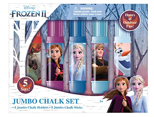 Disney Frozen 2 Kids Sidewalk Chalk Jumbo Chalks Set with Holders