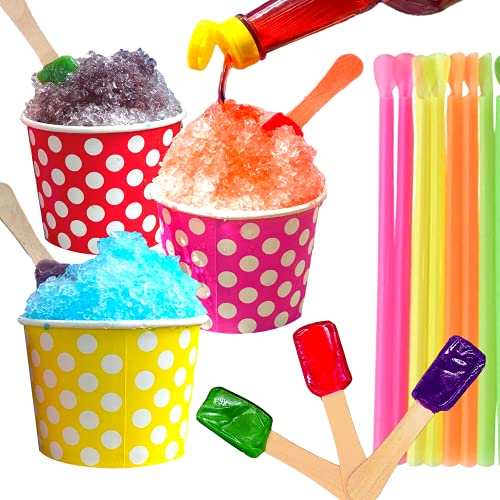 Concession Essentials 105 Piece Multi-Colored Snow Cone/Shaved Ice Kit - Includes 30 Polka Dot Cups (12oz - 10 Red, 10 Yellow, 10 Pink), 25 Candy Spoons, 50 Neon Straws