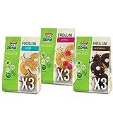 Enerzona Frollini Mix ● 9 Buste da 250g ● 3 Cioccoalto Fondente + 3 Cocco + 3 Lampone