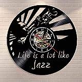 El Jazz se Parece Mucho a la Vida Reloj de Disco de Vinilo Citas Musicales Arte de Pared Reloj de Pared Vintage Reloj de música de Arte de Jazz Regalo para Amantes del Jazz