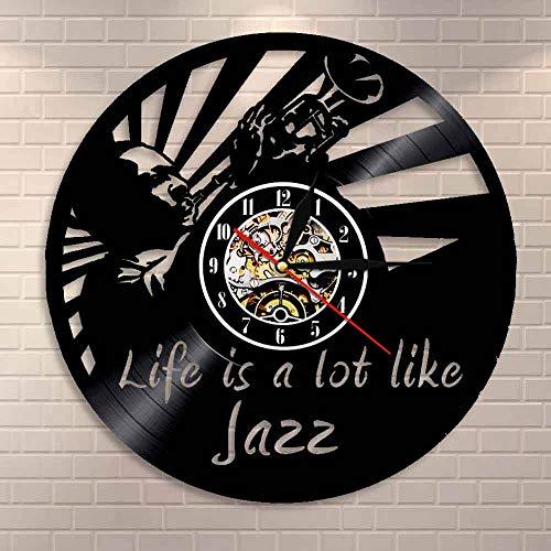 Jazz is a lot like Life - Reloj de pared con citas de vinilo para amantes del jazz