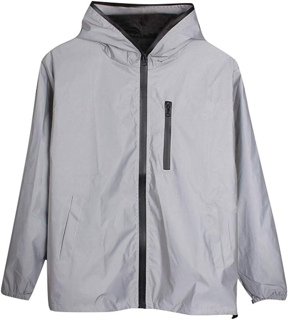 WoCoo Men/Women Windbreaker Jackets Couples Long Sleeve Hooded Reflective Outwear Lightweight Outdoor Waterproof Rain Coat