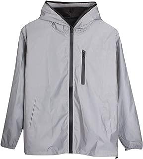 JJHAEVDY Mens Hooded Zip-up Long Sleeve Jacket Windproof Coat Lightweight Windbreaker Hoodie Reflective Outdoor Raincoat