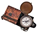 Hanzla Collection Dollond London Brass Pocket Compass with Leather Case, Engravable Compass, Eagle Scouts Gifts, Camping Hiking Compass, Birthday Gifts