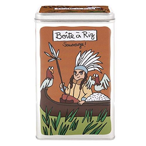 Derrière La Porte DLP - Scatola per il riso, motivo: indiano con tepee, in metallo, design di Valérie Nylin