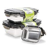 Set di contenitori in acciaio inox Bento Box, contenitori per insalata con coperchio, per cucina, picnic, ufficio, lavabile in lavastoviglie, luce e portatile (set da 350 ml/850 ml/1800 ml)