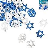 Jumbo Hanukkah Glitter Confetti - Holiday Confetti - Star - Dreidel - Blue and Silver (Single)
