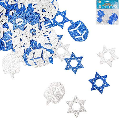 Jumbo Hanukkah Glitter Confetti - Holiday Confetti - Star - Dreidel - Blue and Silver (Single)