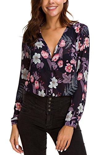 camicia donna elegante EXCHIC Donna Camicetta Stampata in Chiffon Elegante Collo a V Bluse Manica Lunga (S