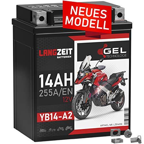 LANGZEIT YB14-A2 Motorradbatterie 12V 14Ah 255A/EN GEL Batterie 12V 51412 CB14-A2 FB14-A2 6Y4P doppelte Lebensdauer vorgeladen auslaufsicher wartungsfrei