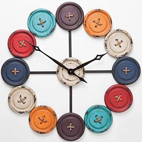 Kare Wanduhr Buttons Accessoires, Edelstahl, schwarz, weiß, grau, orange, rot, hellblau, dunkelblau, 3 x 80.5 x 80.5 cm