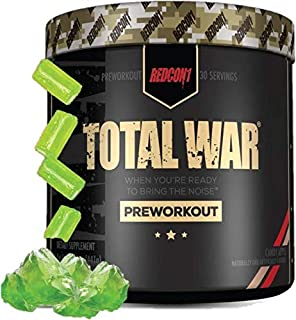 Redcon1 Total War - Pre Workout, 30 Servings, Boost Energy, Increase Endurance and Focus, Beta-Alanine, 350mg Caffeine, Ci...
