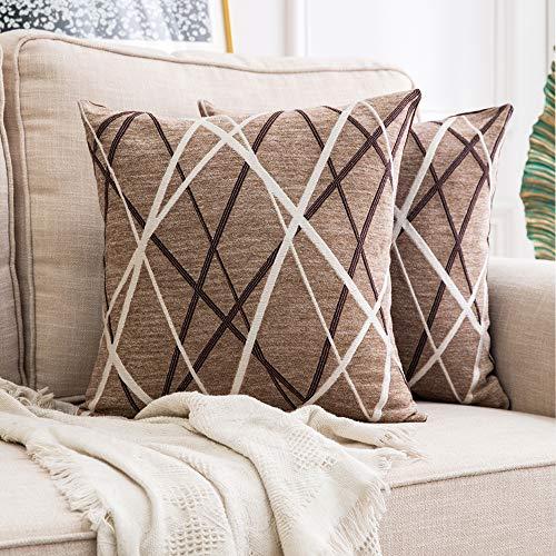 MIULEE Fundas de cojín para sofá Gamuza Sintética Almohada Caso de Diseño Geométrico Decorativas Fundas Cojines 18 x 18inch 45 x 45cm 2 Pieza Helado Marrón