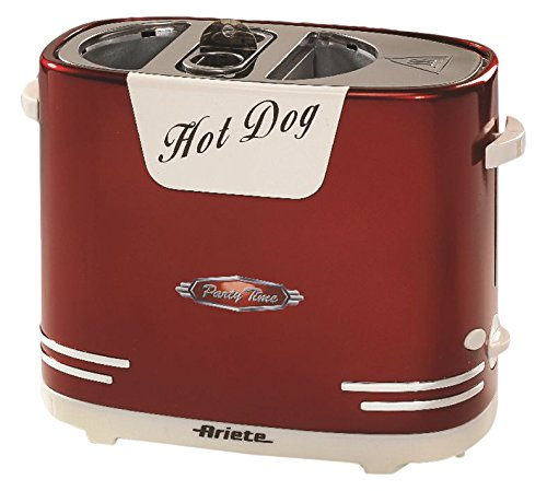 Ariete Retro 00C018600AR0 Hot Dog Maker 186 Partytime im Retrostil der 50-er Jahre, 650 W, metallic rot, Metall