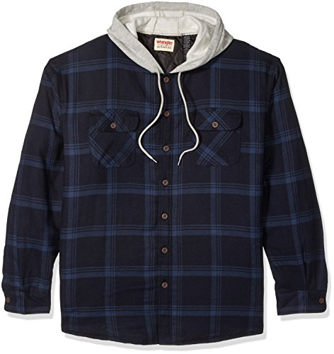 Wrangler Authentics Men's Long Sleeve Quilted Line Flannel Jacket with Hood, Total Eclipse With Heather Gray Hood, M