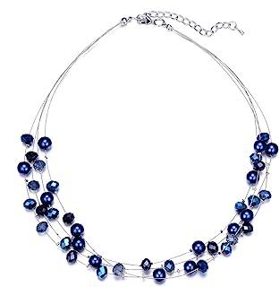 Nautical Wedding Jewelry Bridal Jewelry,Silver Navy Wedding Theme Chunky Pearl Necklace Beaded Necklace Chunky Necklace Midnight Blue