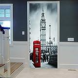 Smhchh Pegatinas De Puerta 3D Cabina Telefónica De Londres 3D Vinilo Adhesivo Impermeable De PVC Adhesivos Arte De Salón Dormitorio Puertas Corredizas.88X200Cm