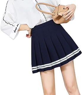 Juleya Adrette Hohe Taille Chic Gestreifte Naht Rock Student Elastische Taille Faltenrock Frauen Süße Süße Mädchen Tanzen Rock