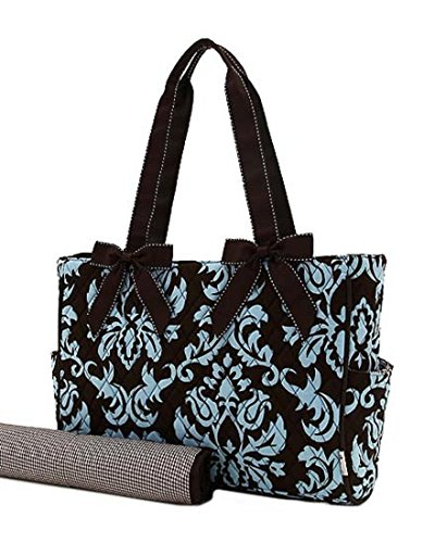Belvah Quinted Damask Diaper Tote - Two Piece Set - Brown/Turquoise