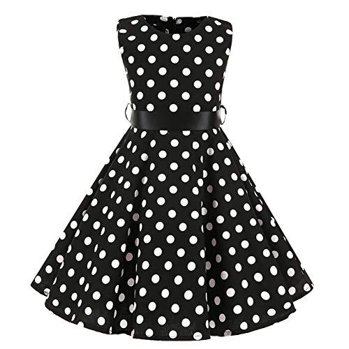 Girl Black Print 50s Vintage Polka Dot Dress Sleeveless Casual Floral Sundress for Girls 3-4Years(3016-110)