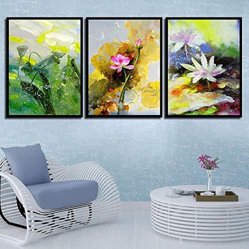 liafa Holzdruck Leinwand Malerei 3pcs DIY Malerei Bohrer Vintage Blume niedlichen Lotus Ikonen daimond