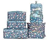 Juego de 7 maletas, organizadores de viaje, 3 cubos + 3 bolsillos + 1 bolsa de lavado, organizador impermeable para maletas, bolsas de viaje para ropa, zapatos, ropa interior, cosméticos, flores azul