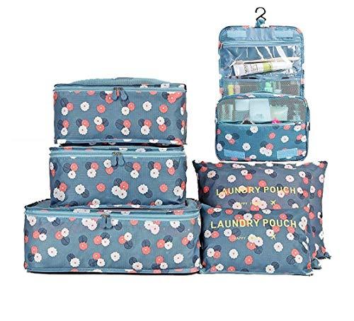 Set di 7 Set di Organizer per Valigie Borsoni Abiti per Viaggio, Organizer per valigie in sacchetto dell'organizzatore per i vestiti, Viaggi toilette Borsa/trucco cosmetico portatile