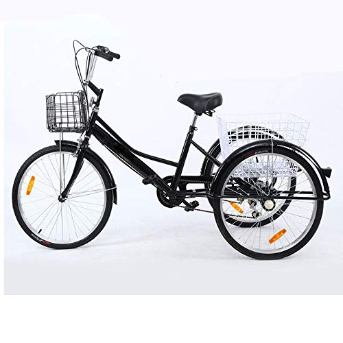 Bici Tres Ruedas Adulto,Meridian Full Size Adult Tricycle De 24 Pulgadas, Flexible, 7velocidades, con 2 Cesta