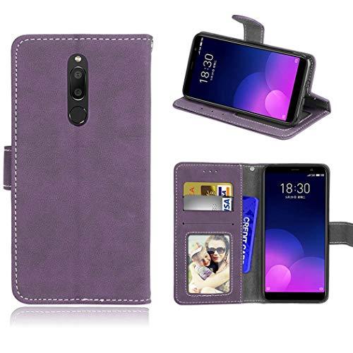 Ycloud Geldbörse Hülle für Meizu M6T Smartphone, Matt Textur PU Leder Magnetisch Flip Handyhülle mit Standfunktion Kartenfächer Entwurf (Lila)