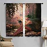 jecycleus Fairy Wear-Resistant Color Curtain Girl with Wings and Butterflies Digital Composition Computer Graphics Elven Creature Waterproof Fabric W52 x L54 Inch Multicolor