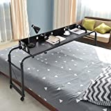 Adjustable Overbed Table with Wheels, Black Height and Length Adjustable Overbed Table for All King Size Queen Size Bed (Black)