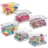 mDesign Práctico organizador de juguetes con tapa – Cajas de almacenaje para guardar juguetes bajo la cama o en las estanterías de la habitación infantil – Juguetero de plástico sin BPA – transparente