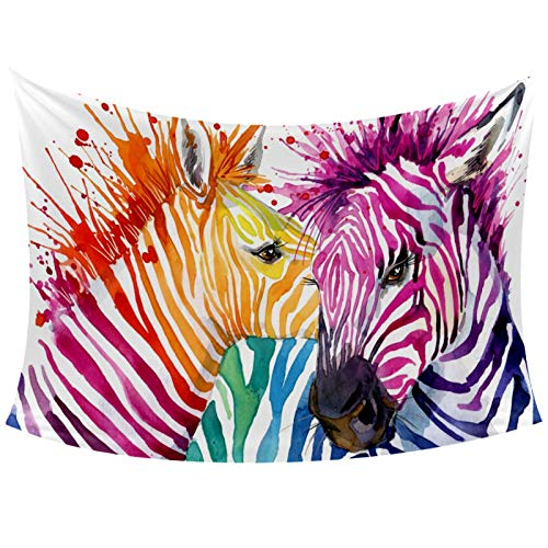Funny Rainbow Zebra Splash Watercolor Illustration Tapestry Wall Hanging for Home Wall Decorative for Living Room Bedroom Dorm Decoration, 60x40 Inches