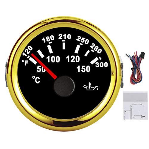50‑150 ℃ Medidor de temperatura del aceite Pantalla LCD Medidor de luz de fondo de 8 colores para vehículos recreativos, barcos, yates, 9-32 V, acero inoxidable + ABS(marco dorado negro)