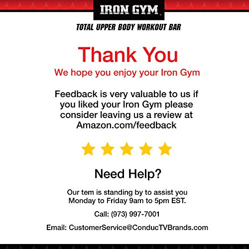 Iron Gym Total Upper Body Workout Bar, Black/Grey, 13 x 36.6 x 11 inches ; 2 pounds