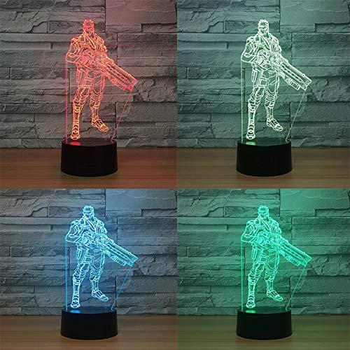Jiushixw 3D acryl nachtlampje met afstandsbediening van kleur veranderende tafellamp spel klok pioneer kinderkamer vakantie facetrijke koe bed hoofd vervanging glas tafellamp kunst