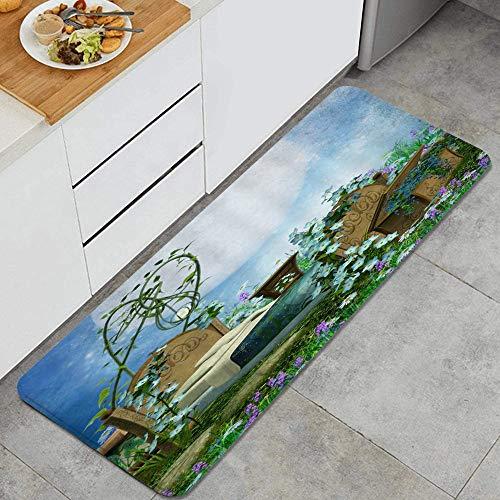 VAMIX Tappeto da Cucina,Fantasia Cameretta per bambini Fiaba Scena notturna Giardino Fiori colorati Prato Verde Luna,antiscivolo passatoia da cucina antiscivolo zerbino tappetino per il bagno