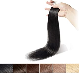 16 Inch Tape in Hair Extensions Real Human Hair Off Black Seamless Remy Straight Skin Weft Hair Extensions Professional Tape on (16'',30g/20Pcs,#1B)+ 10pcs Free Tapes