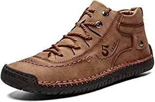 Mens Ankle Boots Loafers Flat Oxfords Casual Slip-On Loafer Shoes Hand Stitching Leather Lace Up Outdoor Soft Ankle Winter...