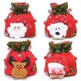 WBYJ Sacchetto di Natale,4 Pezzi di Sacchetto Regalo di Natale con Corda,Pupazzo di Neve Babbo Natale Alce Sacchetti da Regalo per Decorazioni Natalizie