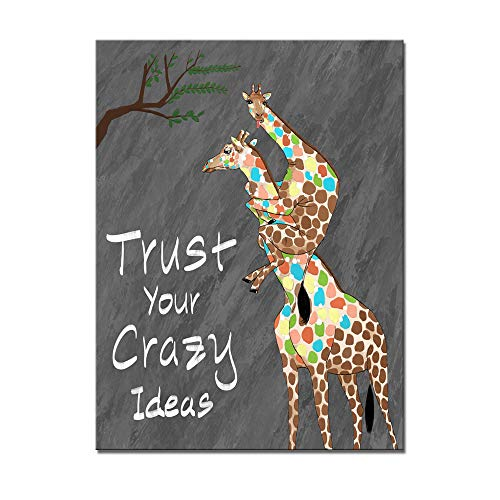 Welmeco Creative Funny Animals Giraffes Canvas Wall Art Trust Your Crazy Ideals Inspirational Quote Poster Prints Office Bedroom Wall Decoration Gift (16'x20')