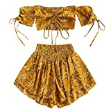 ZAFUL – Off Shoulder Cinched Floral 2 pezzi senza spalline addominali coulisse corto top e Smocked Shorts Set giallo. M