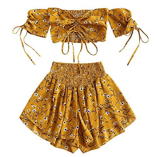 ZAFUL - Conjunto de pantalón corto y pantalón corto para mujer (espalda descubierta, con cordón, 2 piezas, espalda descubierta, con cierre de cordón, parte superior corta y pantalón corto) amarillo S