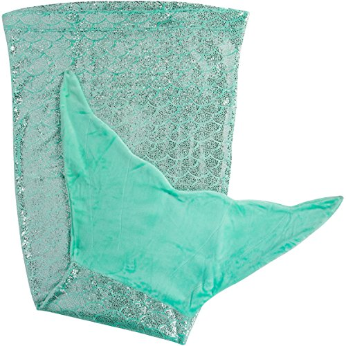 PixieCrush Mermaid Tail Blanket for Teenagers/Adults & Kids Thick, Plush Super Comfy Fleece Snuggle Blanket with Double Stitching, Keep Feet Warm (Small, Shiny Green)