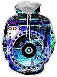 yyqx container 3D-Sweatshirt Hoodie Dj Audio Unisex-Kapuzenpullover Lässige Kapuzenpullover Mode-Sweatshirt 3D-Druck Hoodie Auffällige Pullover mit Känguru-Taschenfarbe , L