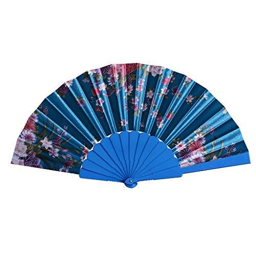 WWZEMLK Ventiladores Plegables Estampado Retro Estilo Chino Danza Boda Ventilador de Mano Encaje Plegable Held Flor Ventiladores Decorativos