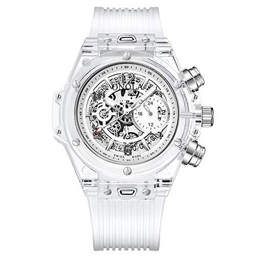 ZSDGY Moda De Plástico Transparente Diseño Multifuncional Reloj De Los Hombres Movimiento De Cuarzo Reloj Deportivo B