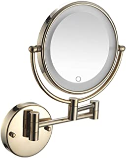 Makeup Mirror with LED Light, Wall Mount Vanity Mirror Two-Sided Bathroom Mirror 5X Magnifying Cosmetic Mirror Shaving in Bedroom or Bathroom Powered by Plug,Gold